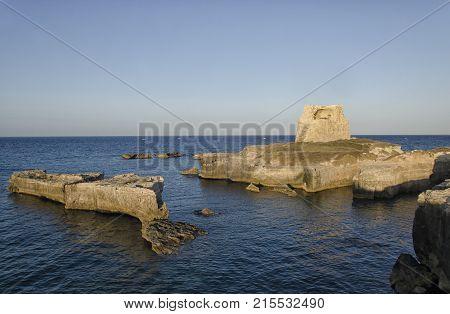 View of the coastline of Roca Vecchia