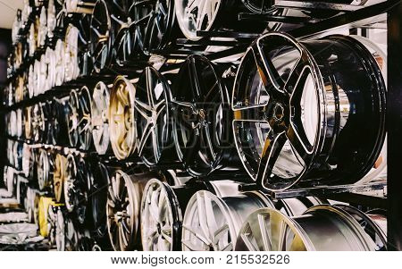 Wall Of Alloy Car Wheels In Store