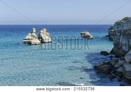 View of the rock formation near Torre dell'Orso