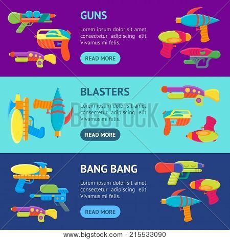 Cartoon Toy Water Guns Banner Horizontal Set Fun for Kids. Vector illustration