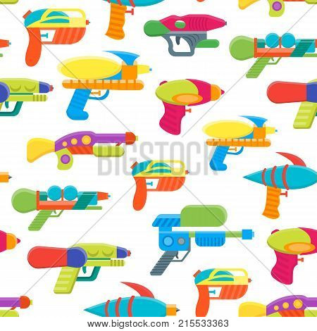Cartoon Toy Water Guns Background Pattern on a White Fun for Kids. Vector illustration