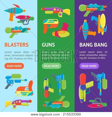 Cartoon Toy Water Guns Banner Vecrtical Set Fun for Kids. Vector illustration