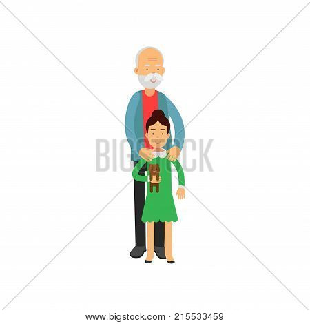 Grandfather standing with his granddaughter, pensioner people leisure and activity vector Illustration isolated on a white background