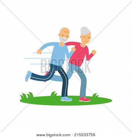 Senior couple running together, pensioner people doing exercise to stay healthy, healthy active lifestyle vector Illustration on a white background
