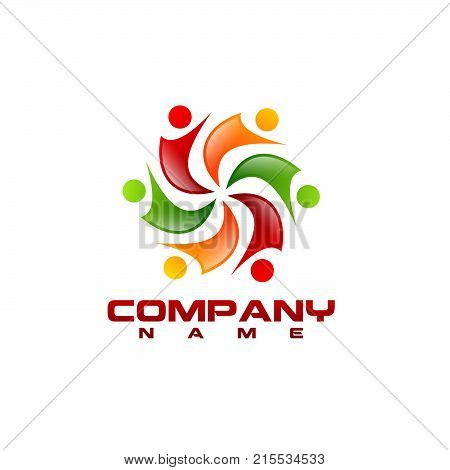 Human character vector logo concept illustration. Abstract man figure logo. People logo. friendship icon. People icon. teamwork icon. happy People icon. happy People logo. Positive logo. meeting logo. business logo.