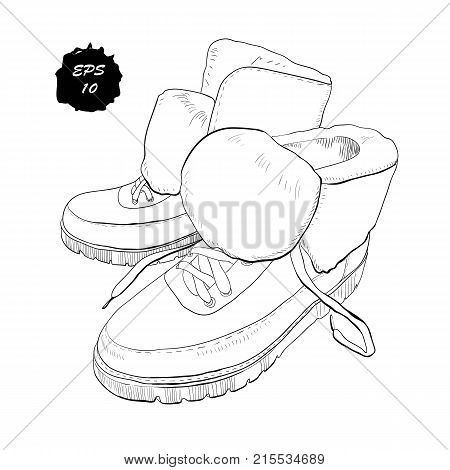 Vector illustration of hand drawn graphic Men and women Footwear, shoes. Casual and sport style, gumshoes, boots for cold seasons. Doodle, drawing Design isolated object.