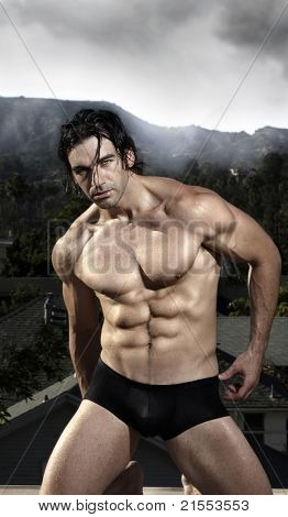 Fashion portrait of a sexy masculine male model in black briefs against natural moody background