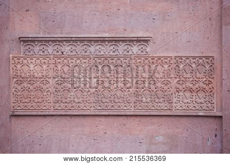 pattern as an architectural decoration the bas-relief in an ancient Armenian Church