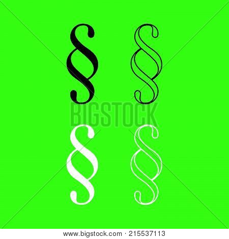 Paragraph Symbol Icon  Black And White Color Set
