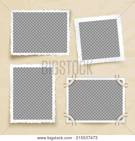 Old victorian image frames. Vintage photo borders vector set. Frame photo card for gallery and album illustration
