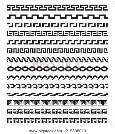 Old mediterranean greek mythology vector pattern repetitive borders set. Border pattern in greek style horizontal illustration