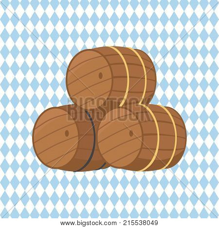 Wooden barrels with beer vector illustration isolated on checkered background. Three casks or tuns hollow cylindrical container, made of wooden staves