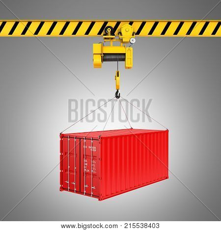 Cargo Shipping Container Loading Concept The Crane Lifts The Container On Grey Gradient Background 3