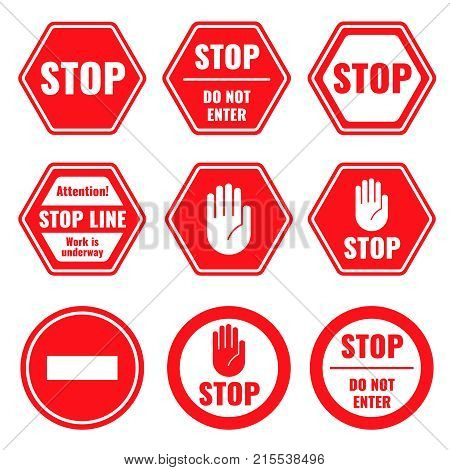 Traffic stop, restricted and dangerous vector signs isolated. Illustration of traffic road and stop symbol, warning and attention