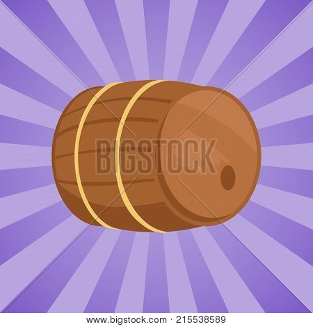 Wooden barrel with alcohol drink vector illustration. Cylindrical container, made of wooden staves bound by metal hoops on purpe background with rays