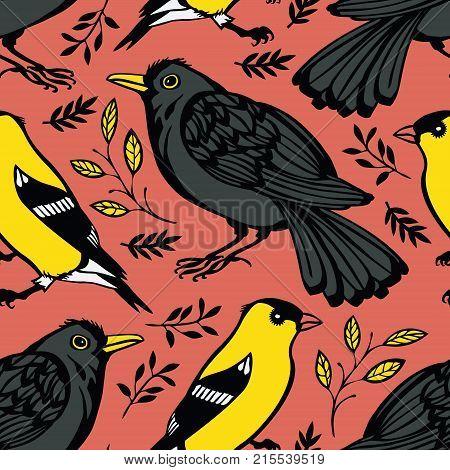 Blackbird and Goldfinch Pink background Seamless pattern