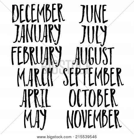 Brush handwritten calligraphy names of months. January february march april may june july august september october november december