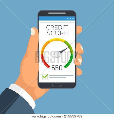 Credit score business report on smartphone screen. Credit rating meter app vector concept. Credit financial indicator rating illustration