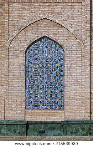 Ornate window niche in the wall, Bukhara, Uzbekistan