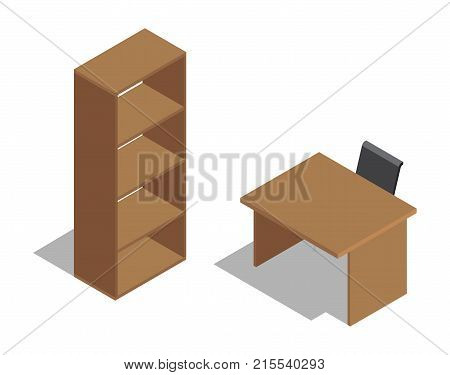 Wooden office table with black chair near empty brown shelving isolated with shadow on white vector colorful illustration in graphic design
