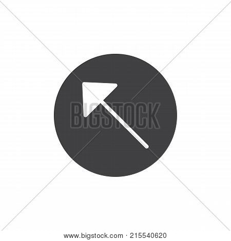 Upper left arrow icon vector, filled flat sign, solid pictogram isolated on white. Symbol, logo illustration.