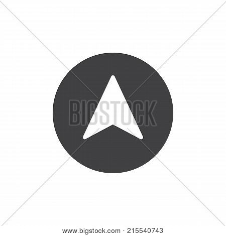 Navigation arrow icon vector, filled flat sign, solid pictogram isolated on white. Cursor symbol, logo illustration.
