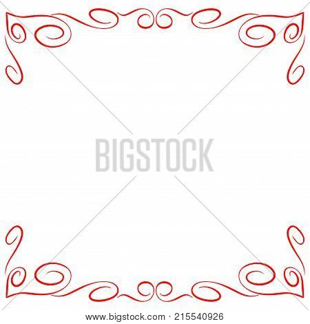 Frame red. Decoration banner rim. Colorful framework isolated on white background. Modern art scoreboard. Border from curls and curves. Decoration concept. Stock vector illustration