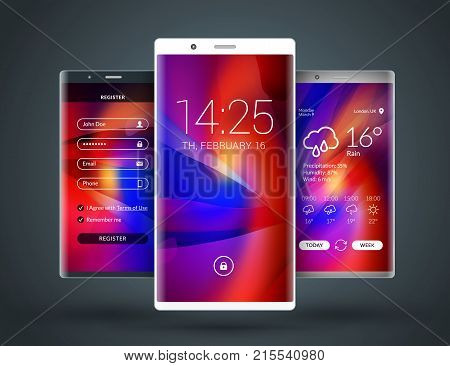 Mobile Interface Wallpaper Design. Abstract Vector Background. Modern Smartphone Application Interfa