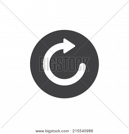Refresh and reload arrow icon vector, filled flat sign, solid pictogram isolated on white. Repetition symbol, logo illustration.