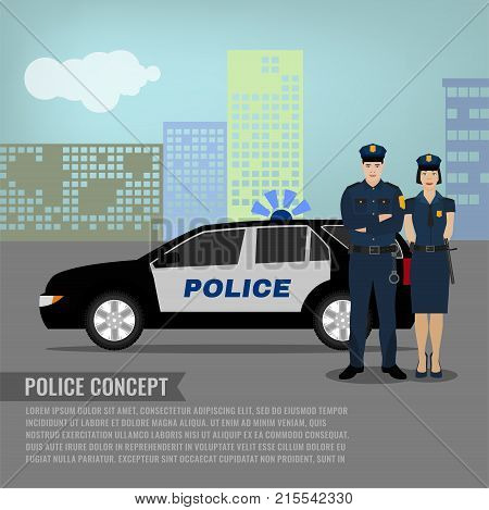 Police patrol standing near the car in a city environment. Editable vector illustration in modern flat style. Safety, protection and justice concept.