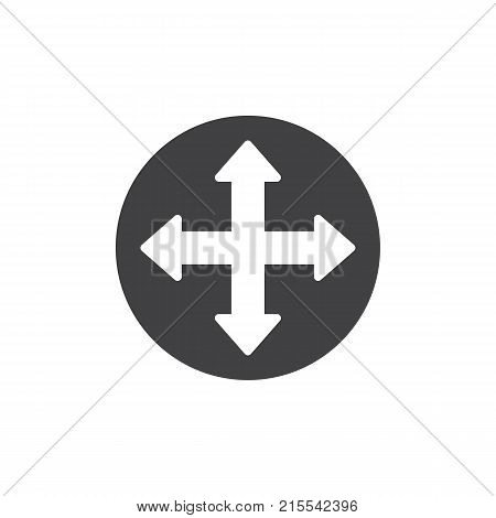 Quadro four directions arrows icon vector, filled flat sign, solid pictogram isolated on white. Fullscreen symbol, logo illustration.