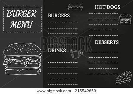Burger menu, fast food template, doodle design. Hot dogs menu placemat, food restaurant brochure. Vintage creative template with hand-drawn graphic. Menu mock-up for cafe, flyer in sketch, retro style