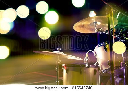 Live music background. Drum on stage.Concert and night lifestyle.Night leisure and entertainment