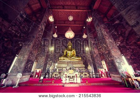 Buddha inside the temple.Asian travel and adventures.Bangkok temple