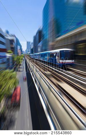 Bangkok,Thailand. Thai capital's central business district. Bangkok Skytrain BTS