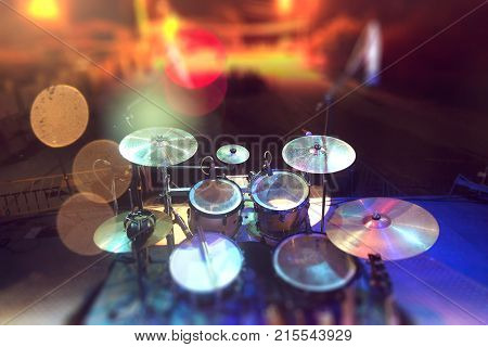 Live music.Concert and band on stage.Festival and show background.Musical background.Drumkit on stage lights