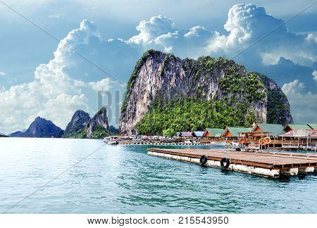 Island scenery. Seascape in Thailand. Phuket beach.Gypsy Nomad village