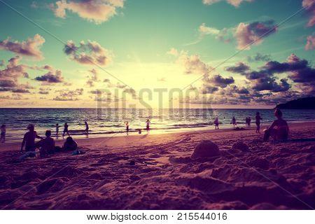 Beach sunset scenery. Phuket island. Thailand travel
