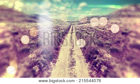 Abstract landscape scenery. Path and sunset.Countryside and sunlight.