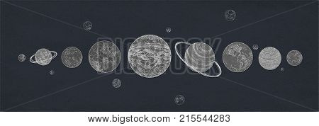 Horizontal banner with planets of Solar system arranged in row against dark background. Celestial bodies or cosmic objects in outer space. Retro vector illustration in black and white colors