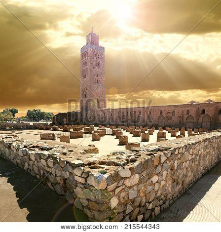 travel concept around the world.Koutoubia mosque Marrakech Morocco.