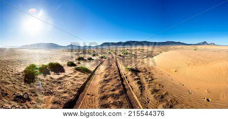 Desert sunset scenery landscape. Adventure and travel concept. Zagora desert