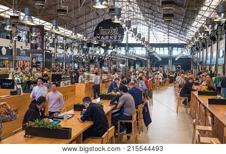 Time Out Market Lisboa (previous Mercado Da Ribeira At Cais) Is A Food Hall Located In Lisbon, Portu