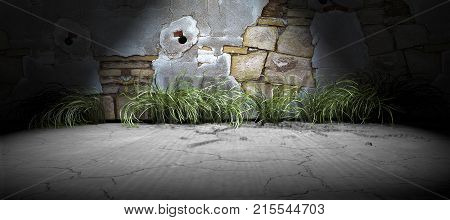 3d render abstract background city lifestyle.Wall and cement floor background.Spotlight