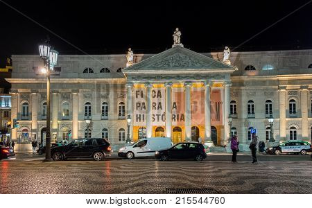 The National Theatre D. Maria Ii (teatro Nacional D. Maria Ii)  In Lisbon, Portugal