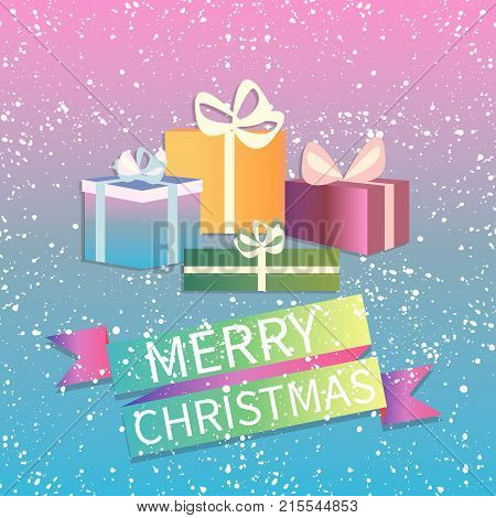 Merry christmas vector greeting card on winter background. Brochure, greeting card or banner template. -stock vector