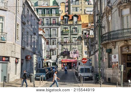 Typically Tiled Houses And Street In Lisbon. Portugal