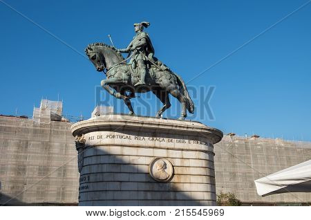 Statue Of King John I At F Praca Da Figueira (square Of The Fig Tree) In Lisbon, Portugal.