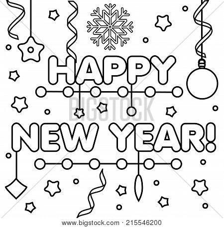 Coloring page with happy New Year text snowflakes and bubles. Color the picture. Educational children game drawing kids activity printable sheet. DIY greeting card