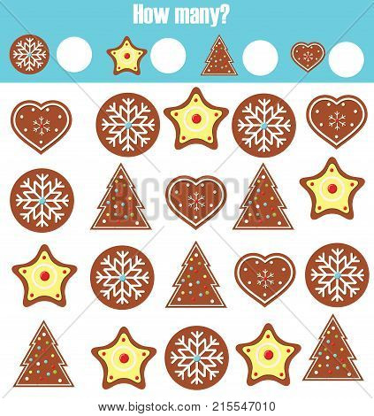 Counting educational children game math kids activity sheet. How many objects task. Learning mathematics numbers addition theme. Christmas winter holidays theme